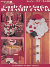Candy Cane Santas, Leisure Arts Plastic Canvas Christmas Decor Pattern 1531 - $4.95
