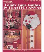 Candy Cane Santas, Leisure Arts Plastic Canvas Christmas Decor Pattern 1531 - $4.95