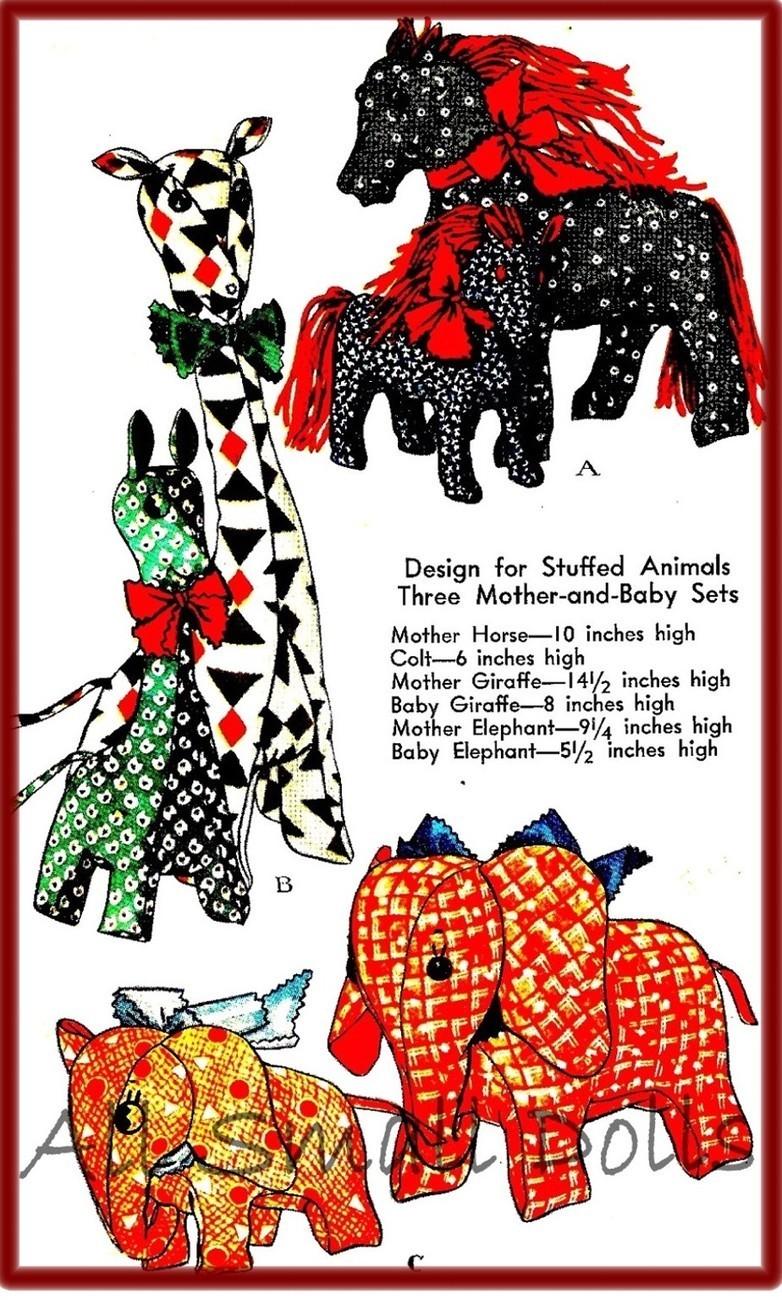 Vintage Pattern for Stuffed Animals * Horse, Elephant & Giraffe McCall's