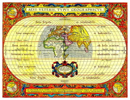 Vintage 1490 World Map 13 x 10 inch Giclee Canvas Print - $19.95
