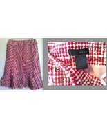 W.D.N.Y. pink red, white tweed FRINGED SKIRT SILK NWT NEW RARE sz 6 - $24.99