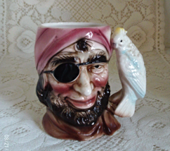 Vintage Toby Style Pirate Mug With Parrot Handle - $12.00