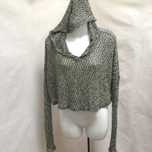 Staring at Stars Anthropologie M Crop Top Black White Hooded Knit Long S... - $19.58