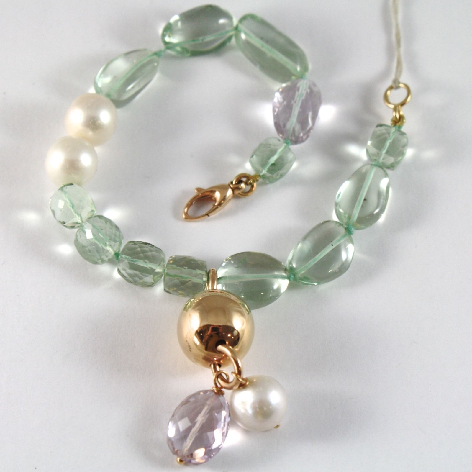 BRACELET ROSE GOLD 750 18K, WHITE PEARLS, AMETHYST PURPLE, PERIDOT, SPHERE