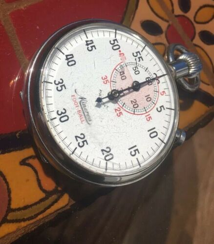 Vintage Minerva Football Stop Watch 7 Jewels Unadjusted Parts Or Repair
