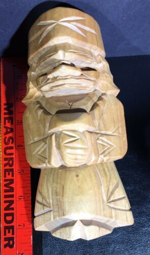 Wood Tiki Carved Russian Figure Doll Totem