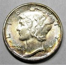1944-P Mercury Dime Nice Rainbow Toning Both Sides CH AU Coin AD580 - $15.59