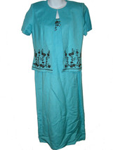 Jessica Howard dress & jacket set sz 6P beaded turquoise linen blend NEW - €18,12 EUR