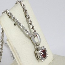 18K WHITE GOLD NECKLACE ROPE CHAIN & FLOWER PENDANT, RED ZIRCONIA ROUND CUT image 2