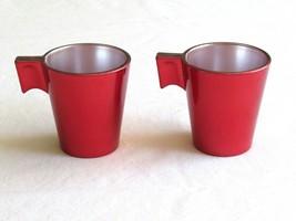 Lot 2x Luminarc Glass 2.75 oz Espresso Shot Stackable Cup Metallic Red F... - $10.99