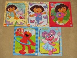 Lot of 5 MIlton Bradley Tray Puzzles - Dora the Explorer, Sesame Street - $22.99