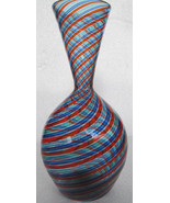 Murano Swirled Blue, Red & Turquoise Venetian Style Large Bulbous Glass ... - $295.00