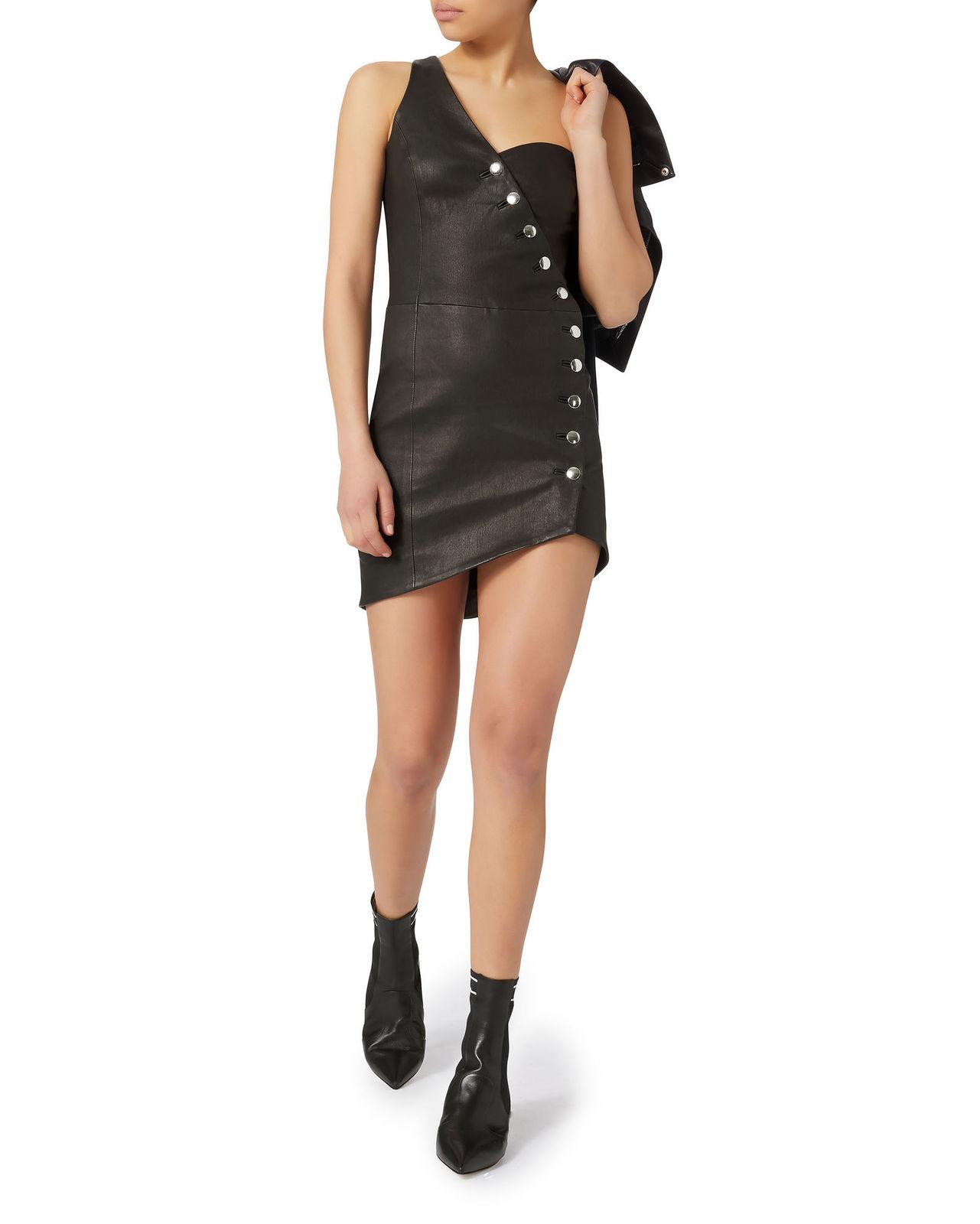 One Shoulder Black Leather Dress