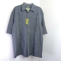 NEW Cabana Gray Embroidered Button-Down Hawaiian Floral Shirt XL NWT - $19.99