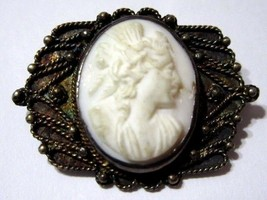 OLDER CAMEO CARVED STONE PIN FANCY SETTING CARVED METAL C-CLASP VINTAGE - $22.00