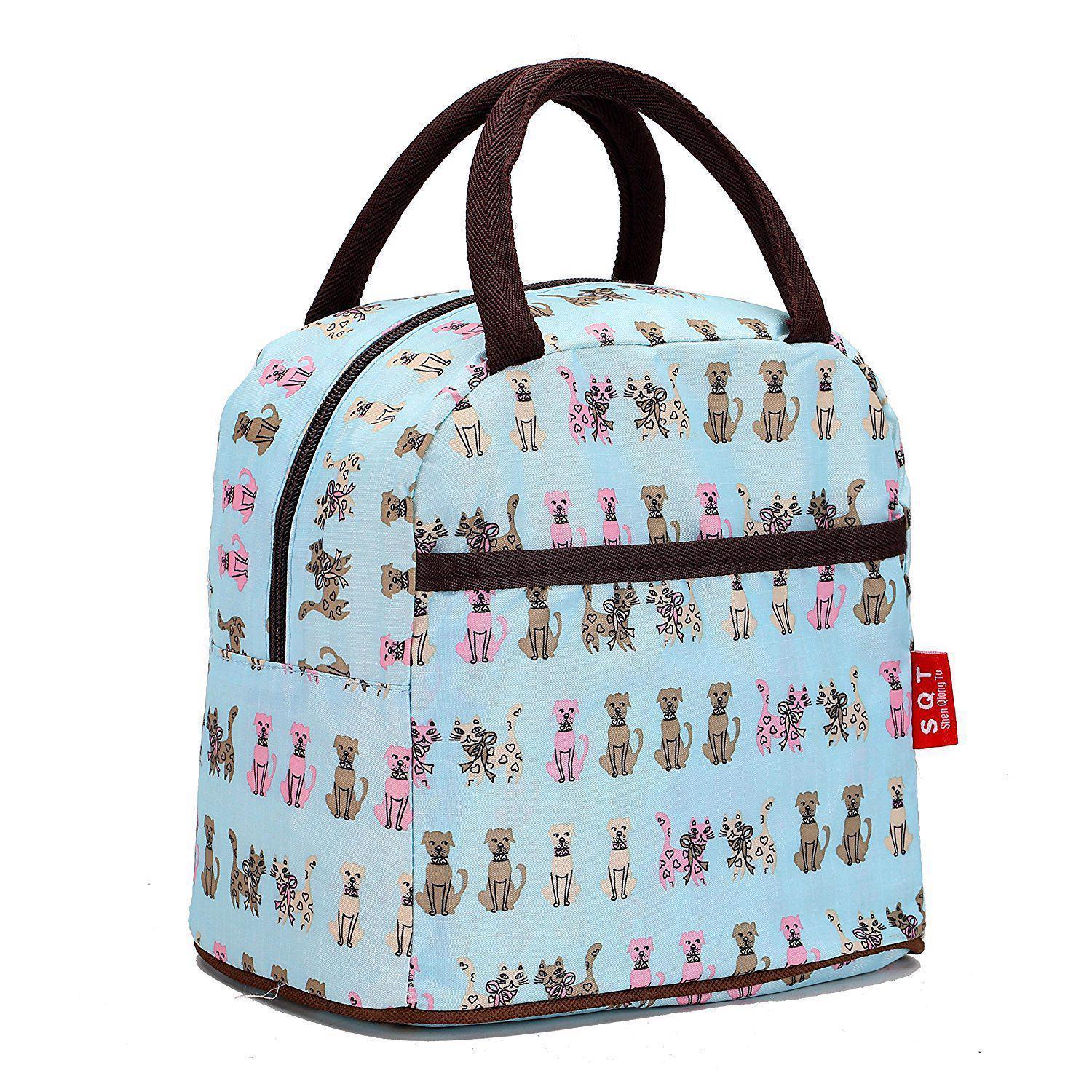 Fashion Zipper Lunch Bag Picnic Box For Women Tote Handbag Pattern Puppy Bag
