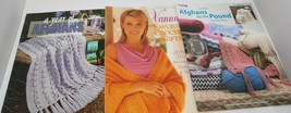 Lot of 3 CROCHET Books Year of AFGHANS 5, By Pound Rita Weiss, Vanna's favorites - $19.75