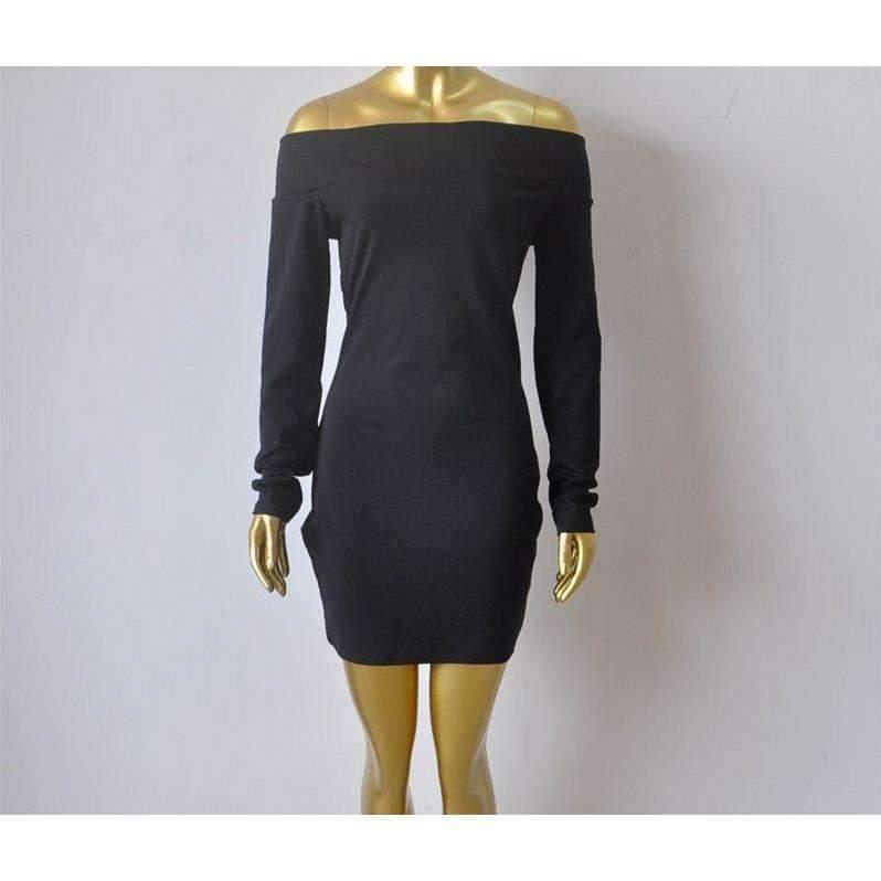 Off Shoulder Sexy Long Sleeve Cotton Women Bodycon Dress
