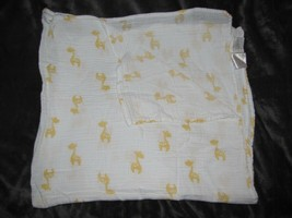 ADEN & + ANAIS White Muslin Baby BLANKET Orange-Yellow Giraffes Stars Sw... - $16.82