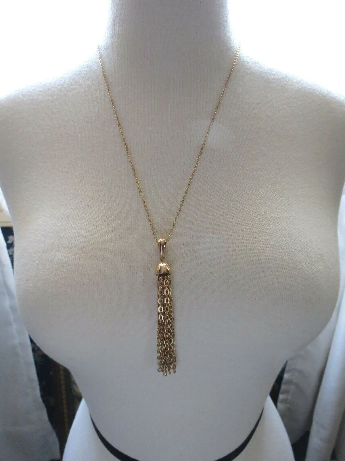 """VTG Sarah Coventry Chain Necklace Tassel Pendant Gold Plated 23"""" Smooth Finish"""