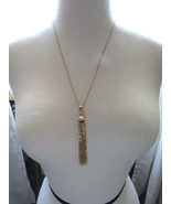"""VTG Sarah Coventry Chain Necklace Tassel Pendant Gold Plated 23"""" Smooth ... - $29.69"""