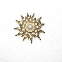 Starburst Brooch Pin White Rhinestones & Faux Pearl Gold Tone Metal Sun ... - $14.84