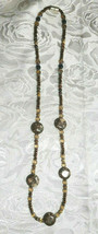 """Shades of Brown Agate and Seed Beaded Necklace 24.5""""  (#20)"""
