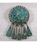 Vintage Inlaid Sterling Silver 925 Dangle Pendant Pin Taxco Mexico  ELR  - $24.00