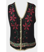 Women America Limited Beaded Black Christmas Sweater Vest Size Petite Sm... - $35.99