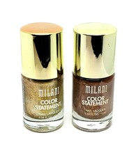 Lot of 2 New Milani Color Statement Nail Lacquer Polish Gold & Bronze Me... - $6.34