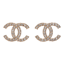 100% AUTH NEW CHANEL XL Large Gold CC Crystal Stud Earrings image 1