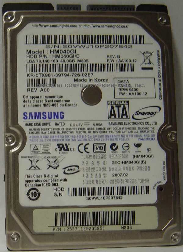 40GB 2.5in 9.5mm SATA Hard Drive Samsung HM040GI Tested Good Our Drives Work