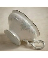 Barbizon by Mikasa Footed Coffee Tea Cup Blue Flowers Gray Leaves Platin... - $12.86