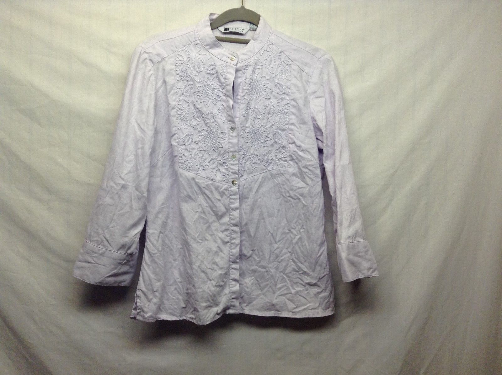 Carole Little Lilac Colored Linen Shirt w Floral Embroidery NEHRU Collar Sz S