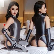 Women Satin Shiny Catsuit SET/4PCS Slim Bodysuit  Pants Gloves Zipper Ju... - $18.18