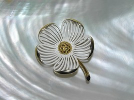 Estate Monet Signed White Enamel Dogwood Flower w Slit & Curled Edge Pet... - $12.19