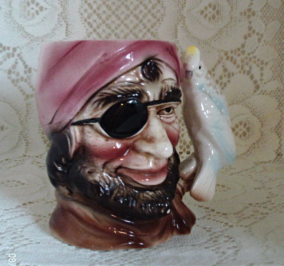 Vintage Toby Style Pirate Mug With Parrot Handle