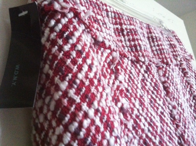 W.D.N.Y. pink red, white tweed FRINGED SKIRT SILK NWT NEW RARE sz 6