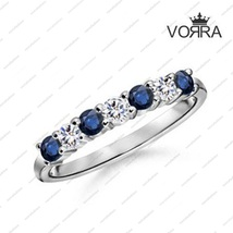 Round Cut CZ & Blue Sapphire White Gold Plated 925 Sterling Silver Weddi... - $45.99
