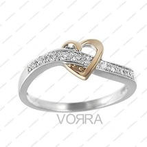 Rose Gold Plated White CZ Comely Heart Ring in 925 Sterling Silver All Size 5 6  - £27.29 GBP