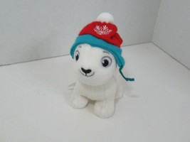 Hallmark plush mini Snowby polar bear red snowflake hat was Christmas ornament - $2.96