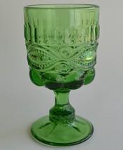 Mosser Glass ~ Eyewinker Green Footed Goblet ~ USA - $19.95