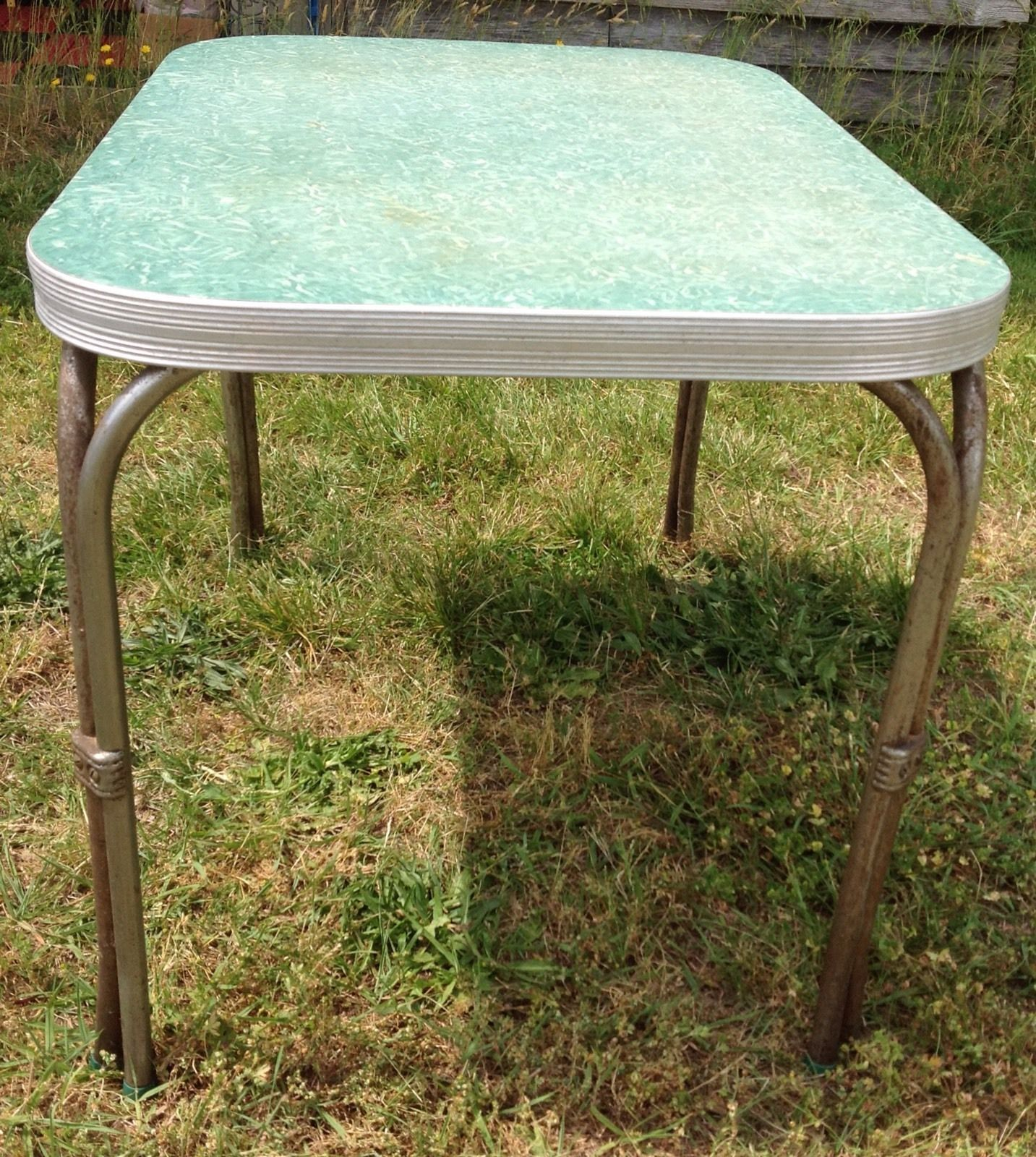 Small formica top kitchen table green chrome 42x30 mid century vintage sc pickup post 1950 - Formica top kitchen tables ...