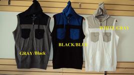 Black Blue sleeveless hoodie vest sweater Sleeveless Casual Vest jacket ... - $38.00