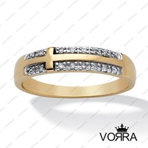 14k Yellow Gold Plated 925 Silver Women's Wedding Band Ring Round Cut White CZ - £33.04 GBP