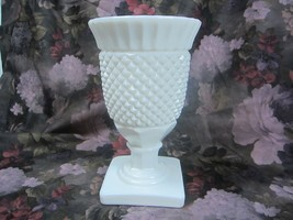 "Vintage Fenton White Milk Glass Vase Diamond Design pattern 7 1/2"" Tall ... - $15.90"