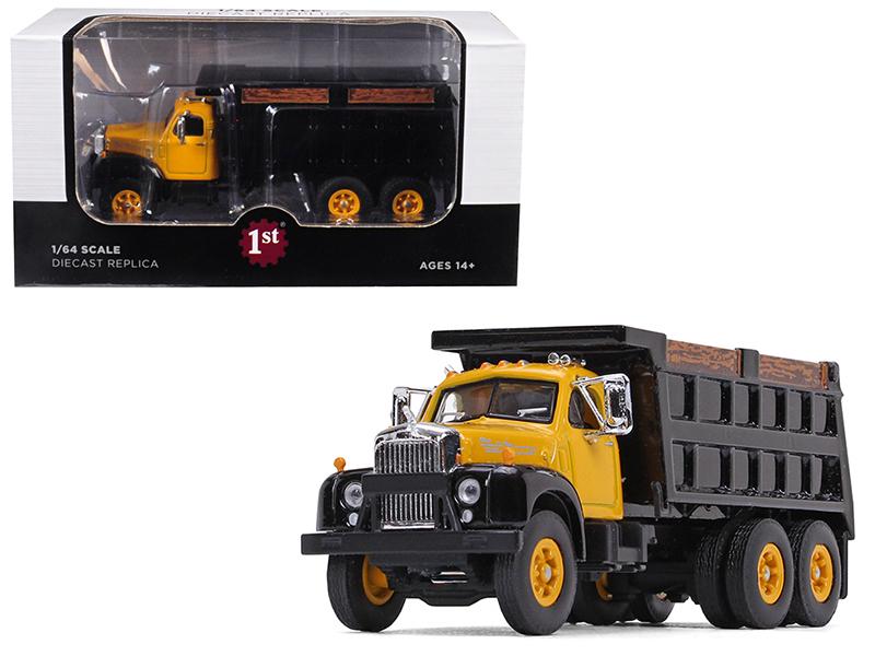 Mack B-61 Tandem Axle Dump Truck Yellow Cab/ Black Body 1/64 Diecast Model by Fi