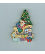 Christopher Radko Santa Sleigh Christmas Tree  Pin Brooch Costume Jewelry - $19.99