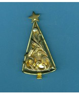 Christmas Tree Pin Brooch All Golden Vine Trimmed Costume Jewelry Unsigned - $19.99