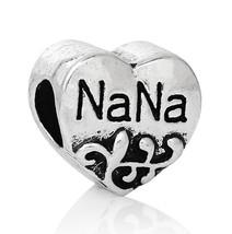 Heart Silver Charm NaNa Lage hole bead Fit European Charm Bracelet C195 - $2.66